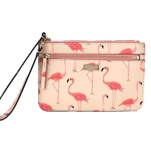 Kate Spade Shore St. Flamingo Flock Tinie Wristlet